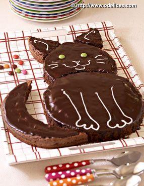 Gâteau d'anniversaire chat, au chocolat